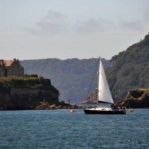 Sail Boat by Drakes Island, Plymouth MPA