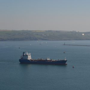Commercial vessel in Plymouth Sound © Beth Siddons