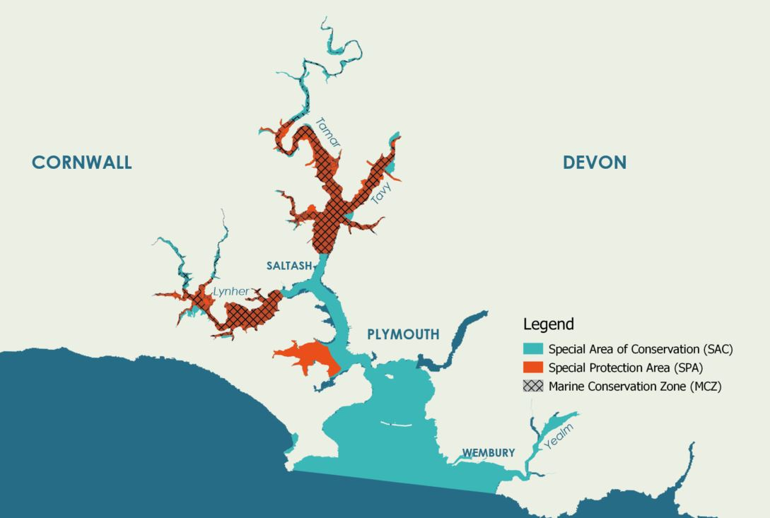 Map of designations in the Plymouth Sound & Tamar Estuaries