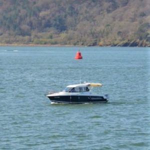 Motorboat on the Plymouth Sound