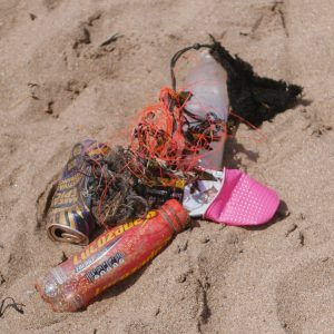 Plastic litter on a Plymouth Beach